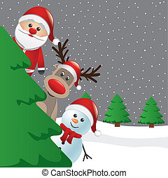 santa reindeer snowman behind christmas tree
