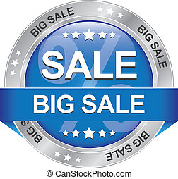 big sale blue silver button isolated background