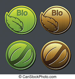 natural labels with leaf - bio stickers