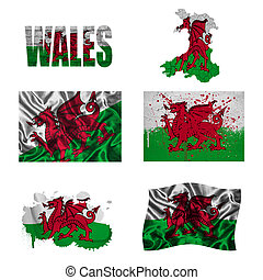 Welsh flag collage - Wales flag and map in different styles...