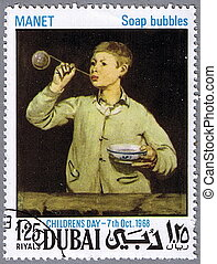 Eduard Manet - Soap bubbles - DUBAI - CIRCA 1968: A stamp...