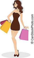 Shopping girl - Vector illustration of Shopping girl