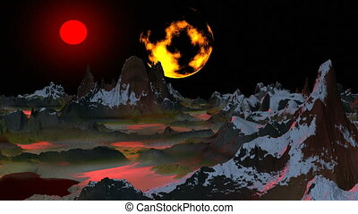 Surrealistic landscape Two moon - Sharp tops of mountains...