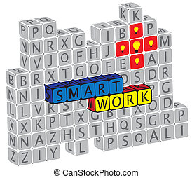 Illustration of word smartwork using alphabet(text) cubes. The graphic can represent concepts like creativity, innovation, problem solving, etc.