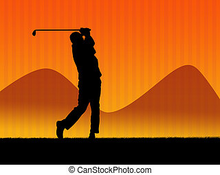 Golf background 2 - Golf player and field silhouette in...