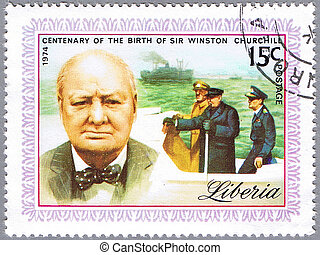 Sir Winston Churchill - LIBERIA - CIRCA 1974: stamp printed...