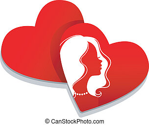Heart set with people solhouette - Vector illustration of...