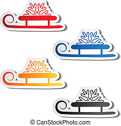 paper sledge with snowflake, sticker