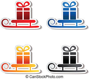 paper sledge with gift, sticker - Vector paper sledge with...