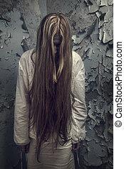 zombie, menina, loong, cabelo, abandonado, predios