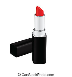 red lipstick - Open red lipstick ladies in black plastic...