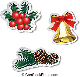 set of Christmas stickers - Vector set of Christmas stickers