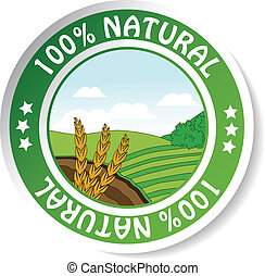 natural sticker, paper nature label - Vector natural...