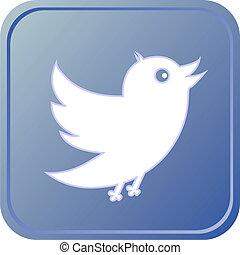 Blue button with bird icon