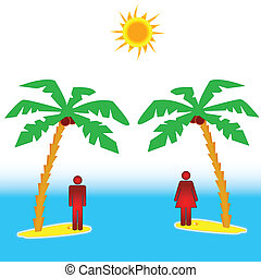 Two islands - The concept of the two islands with people
