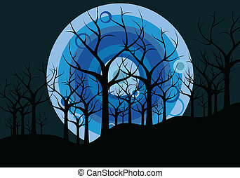 night landscape: trees and the moon