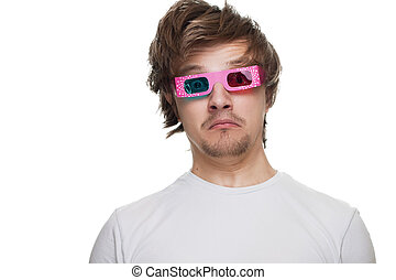 young man in stereo glasses surprised isolated over white