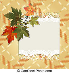 Autumn background with colorful leaves and place for text.