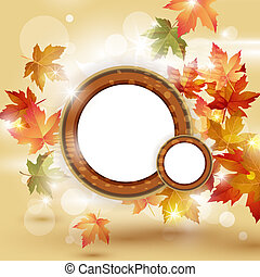 Autumn leaves falling on bright background and place for...