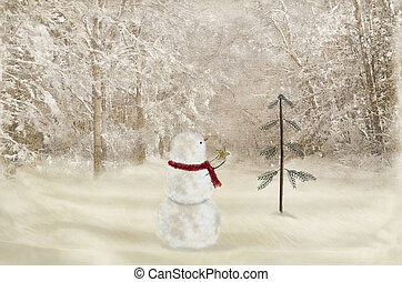 snowman with Christmas star - Snowman with gold star...