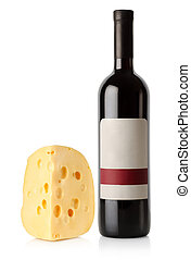Wine bottle and dutch cheese