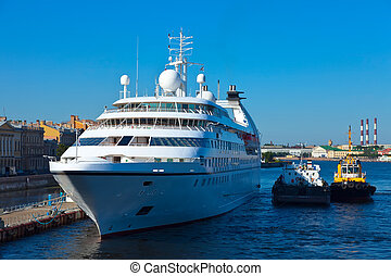 white cruise ship at Neva Saint Petersburg Russia