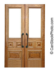 wooden double door. Isolated over white background