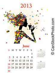 Fashion girls 2013 calendar year, june