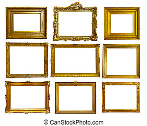 Set of gold picture frames. - Set of 9 gold picture frames....