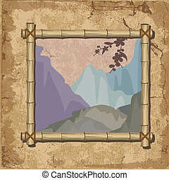 Mountain landscape in the bamboo frame grunge background