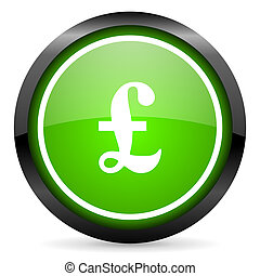 pound green glossy icon on white background