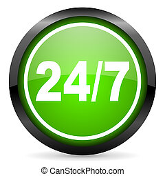 24/7 green glossy icon on white background