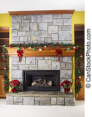 Cozy warm fireplace for the holidays