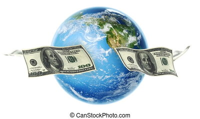 USD Bills Around Earth White loop - 100 Dollar bills flying...