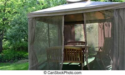 garden gazebo arbor - Go into garden gazebo arbor with net...