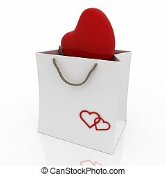 heart in bag for gift on white background