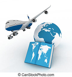 airliner with globe - airliner with globe in the white...