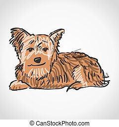 Sitting Yorkshire Terrier - Illustration of brown dog...