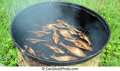 fish smoking rusty barrel - closeup natural organic fish...