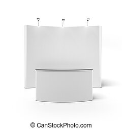 Trade exhibition stand with screen isolated on a white...