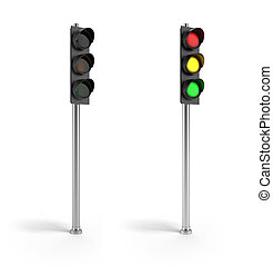 On and off traffic lights isolated on a white background