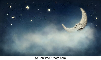 Dreamy night - Night time with stars and moon