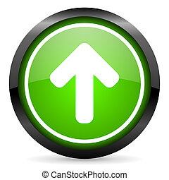 arrow up green glossy icon on white background