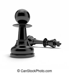Pawn and king isolated on a white background