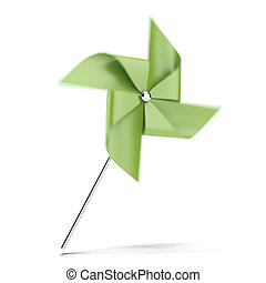 Green pinwheel isolated on a white background