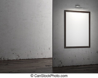 Gallery Interior with empty frame
