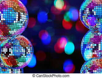 Colorful dark background with mirror disco balls - Colorful...