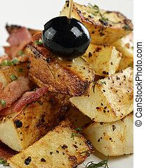Fried Potatoes With Bacon ,Close Up