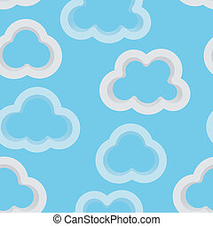 Seamless sky background with 3d clouds - Abstract light blue...