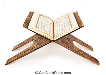 The holy quran. - Open quran stand. The holy quran.
